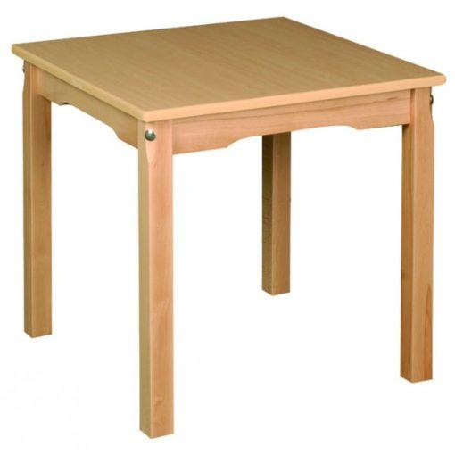 Óvodai négyzet asztal, bükk 60 X 60 cm fa váz laminált asztallap