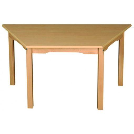 Óvodai trapéz asztal, bükk 110 X 60 cm fa váz laminált asztallap