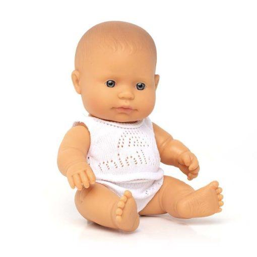 Európai lány baba fehérneműben, 21cm-es, dobozos, MINILAND, ML31122