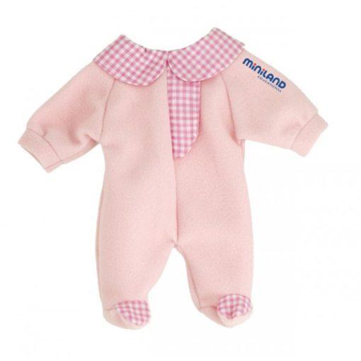 Babaruha - rózsaszín rugdalózó, 32 cm-es babához, MINILAND, ML31629