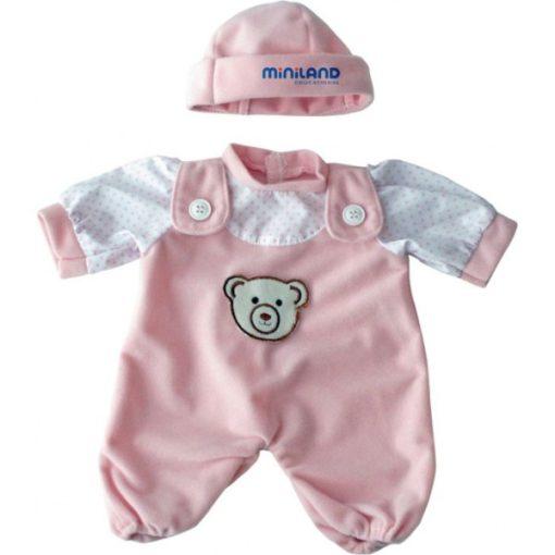 Babaruha - rózsaszín rugdalózó sapkával, 21 cm-es babához, MINILAND, ML31698