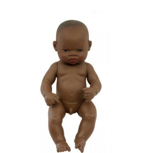 Baba - afrikai fiú, haj nélkül, 32 cm-es, vízálló, MINILAND, ML31033