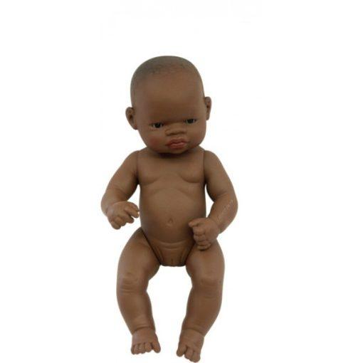 Baba - afrikai lány, haj nélkül, 32 cm-es, vízálló, MINILAND, ML31034