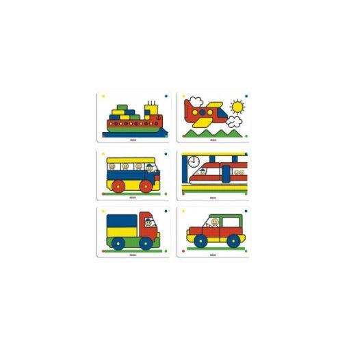 Pötyihez feladatlapok - Közlekedés, 6 db, 10 mm, 4 színű, MINILAND, ML31835