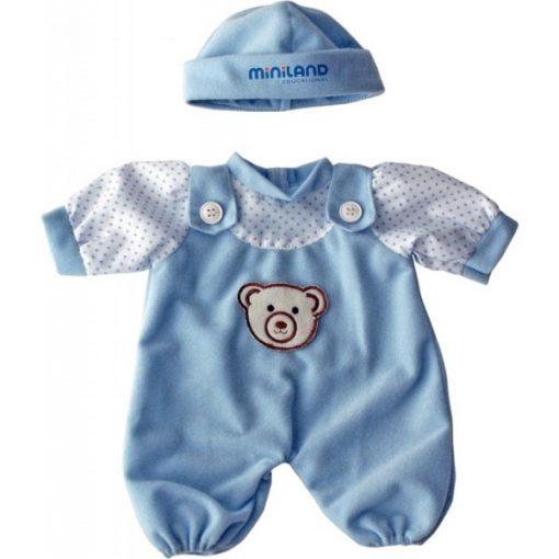 Babaruha - kék rugdalózó sapkával, 21 cm-es babához, MINILAND, ML31697