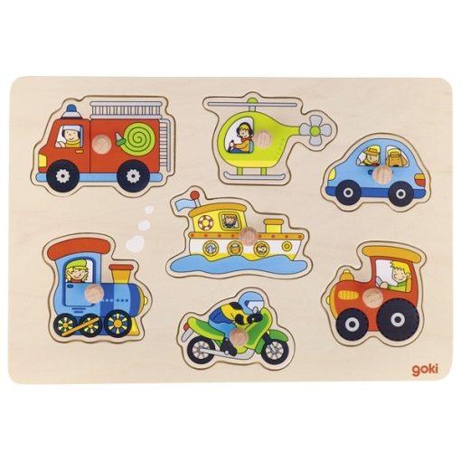 Fogós puzzle - járművek, GOKI GK57491