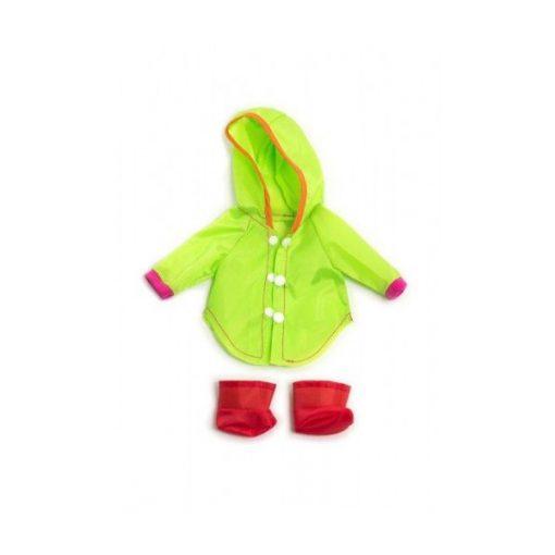 Babaruha - uv zöld esőkabát, piros cipővel, 32 cm-es babához, MINILAND, ML31636
