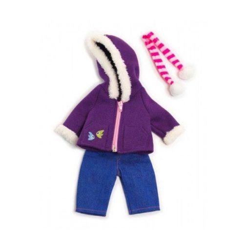Babaruha - farmer nadrág, kabát, sál, 32 cm-es babához, MINILAND, ML31637