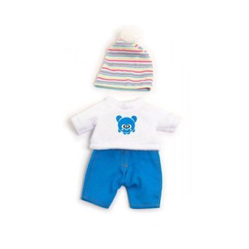 Babaruha - kék nadrág, fehér pulóver,csíkos sapka, 21 cm-es babához, MINILAND, ML31677