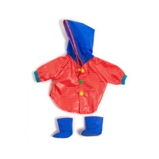 Babaruha - piros esőkabát, kék cipővel, 40 cm-es babához, MINILAND, ML31556