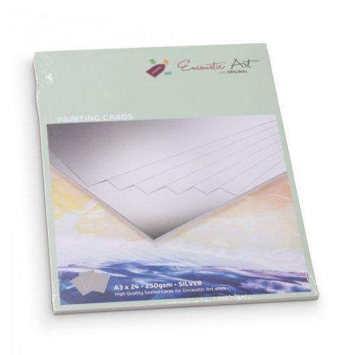 Encaustic kartonpapír, A/3, ezüst, 250 gr, 24 db