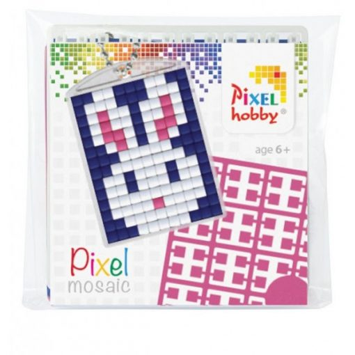 Pixelhobby Kulcstartó szett - Nyuszi (kulcstartó alaplap + 3 szín + lánc)