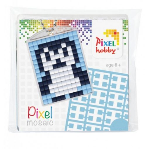 Pixelhobby Kulcstartó szett - Pingvin (kulcstartó alaplap + 3 szín + lánc)