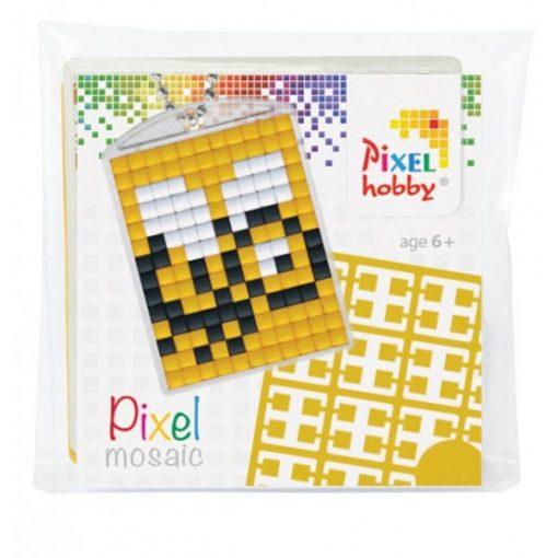 Pixelhobby Kulcstartó szett - Méhecske (kulcstartó alaplap + 3 szín + lánc)