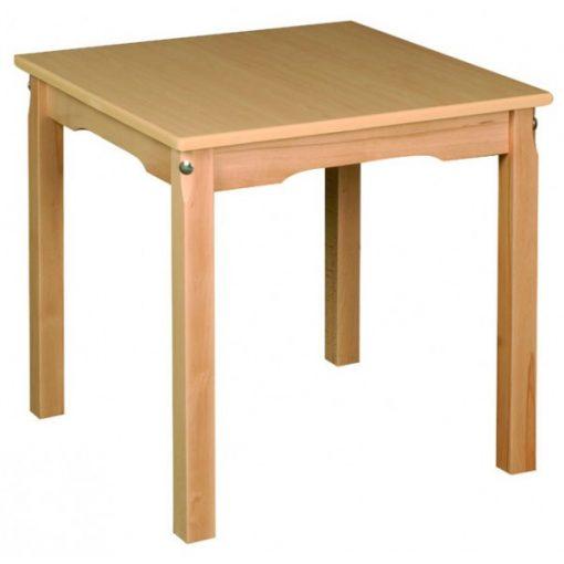Óvodai asztal bükk - NÉGYZET 60 x 60 cm fa vázzal, laminált