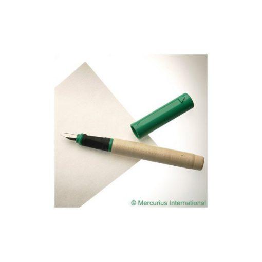 Töltőtoll fából, kalligrafikus, patronos, zöld, 1,1 mm  - kupakkal