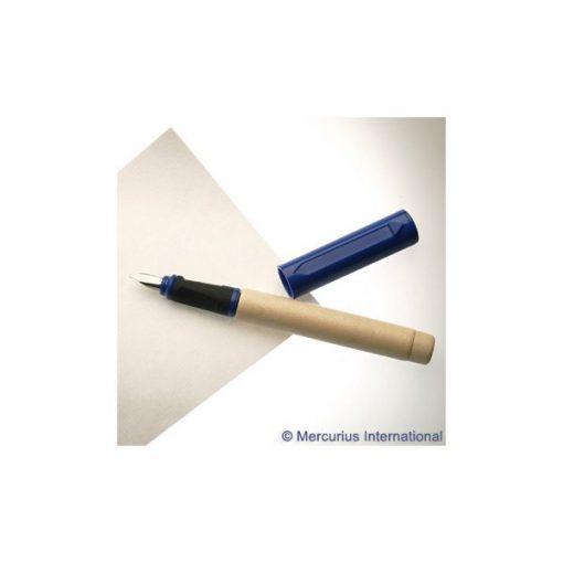 Töltőtoll fából, kalligrafikus, patronos, kék, 1,5 mm  - kupakkal