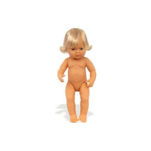 Baba - európai lány, hajas, 38 cm-es, vízálló, MINILAND, ML31052