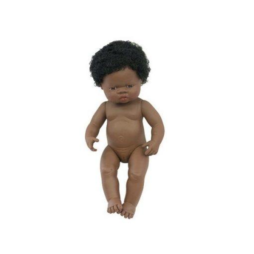 Baba - afrikai lány, hajas, 38 cm-es, vízálló, MINILAND, ML31054