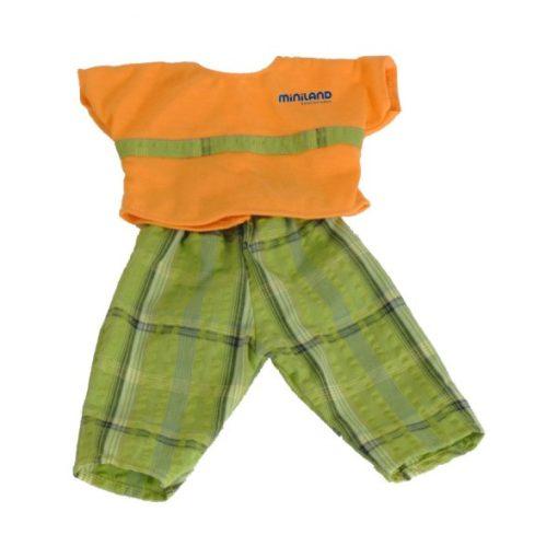 Babaruha - zöld nadrág narancsszínű felsővel, 40 cm-es fiúbabához, MINILAND, ML31531