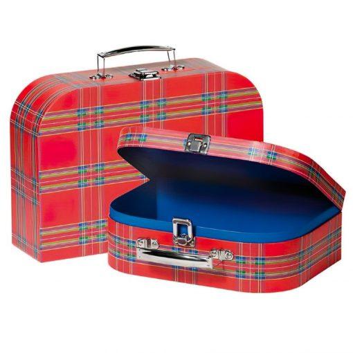 Kockás bőrönd, közepes  - GOKI GK60103/A