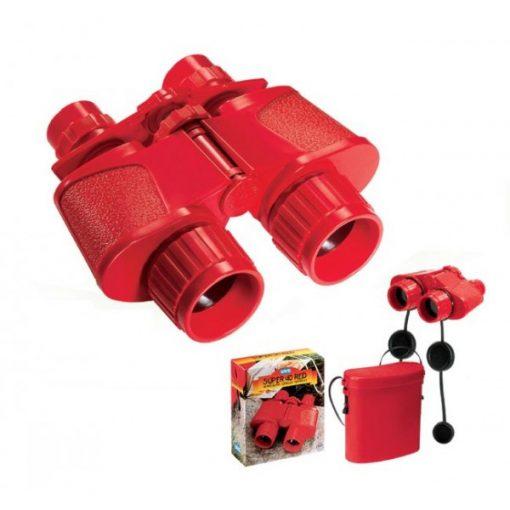 Piros távcső tokkal, háromszoros nagyítással, Op1050